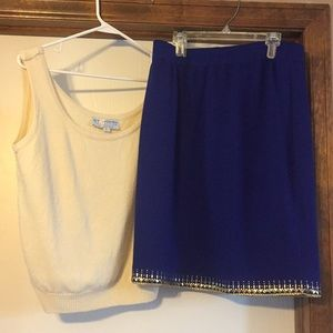 St. John  tank top sweater and skirt set, L